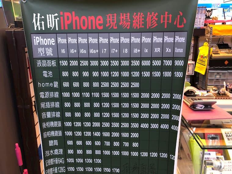 iPhone修理の値段表